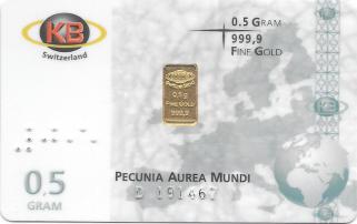 Goldbarren, Feingold 0,5 Gramm, 999/ooo