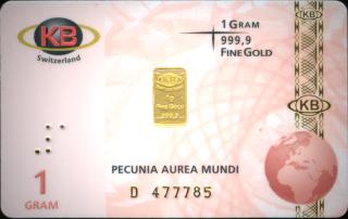 Goldbarren, Feingold 1 Gramm, 999/ooo
